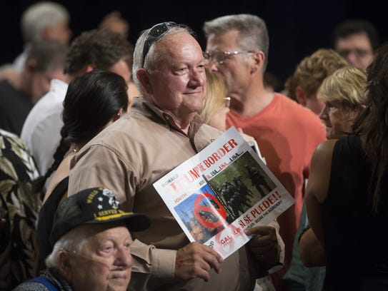 Former Senate President Russell Pearce attends a rally