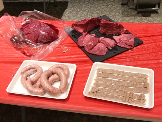 Samples of sausage and jerky made from venison are