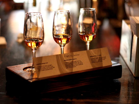 One of the rum flights available at the Breadfruit