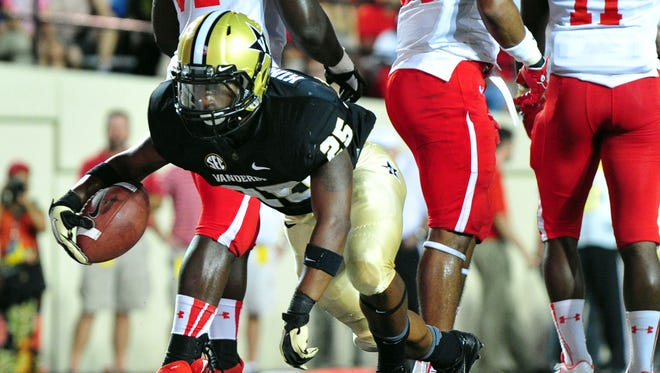 Brian Kimbrow, shown here scoring a touchdown last September vs. Austin Peay, returns as one of Vanderbilt's top two running backs.