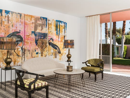 The living showcases the interior design of Jacqueline Coumans and Hadrien Coumans of New York.
