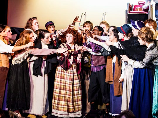 """Walnut Hills High School's performance of """"Sweeney Todd"""" was selected as the recipient of the Top Musical Award in accordance with the votes of 133 student critics from peer participating high schools. Maddie Eaton, center, won Best Actress in a Musical for her portrayal of Mrs. Lovett."""