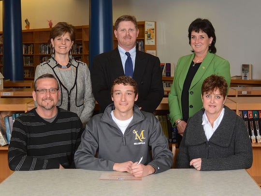 Ethan Clark will play soccer at Millersville Back Row: Dr. Emilie Lonardi, Superintendent, Roger Czerwinski, AD, Ms. Janet May, Principal Front Row: Dad, Mr. Parrish Clark, Ethan Clark, Mom, Mrs. Angela Clark (SUBMITTED)