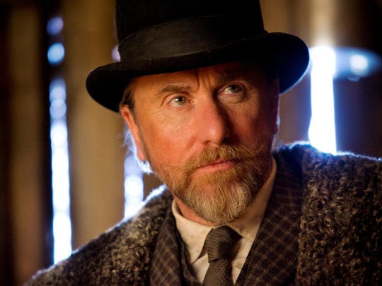 """This image released by The Weinstein Company shows Tim Roth in a scene from the film, """"The Hateful Eight."""""""