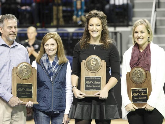 Former Ankeny star Chelsey (Semprini) Blough, second from right, was inducted into the Iowa Volleyball Hall of Fame.