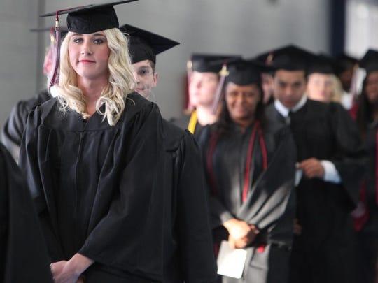 Graduates line up for Louisiana Delta Community College