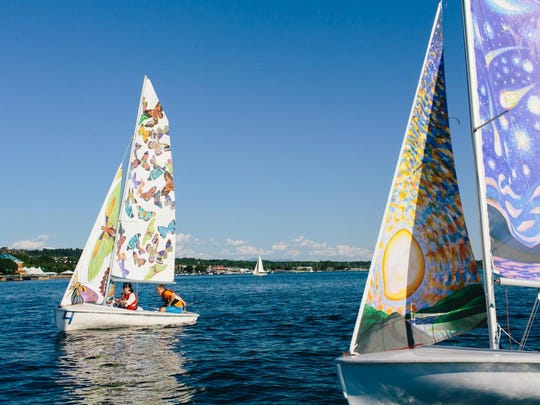 A view of two of the artists' sails.