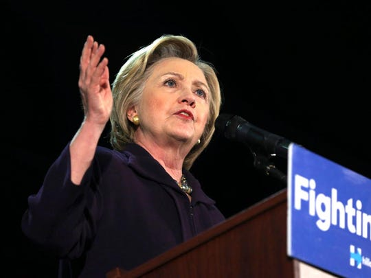 Democratic presidential candidate Hillary Clinton speaks during a campaign rally, Wednesday, May 11, 2016, in Blackwood.