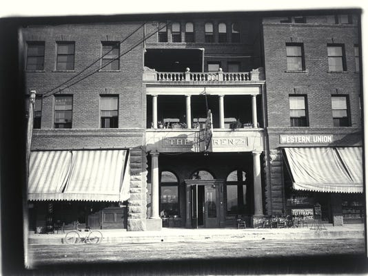 Main door to the Lorenz Hotel with Western Union Telegraph Office on first floor. Yuba St. Redding, Shasta Co., Calif. Ca. 1920. Shasta Historical Society 1986.21.1544