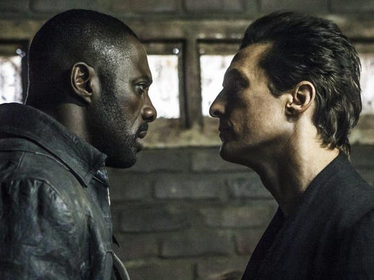 "Idris Elba, left, and Matthew McConaughey in ""The Dark Tower."""