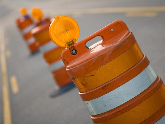 Row of Road Construction Barrels