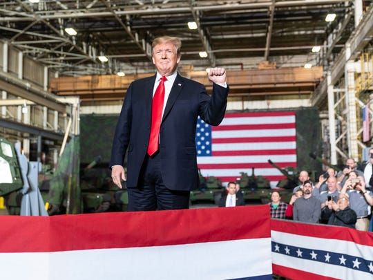 President Trump delivering remarks at a Lima, Ohio tank plant.