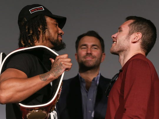 The middleweight title fight between Demetrius Andrade (left) and Luke Keeler on Thursday in Miami could get lost in the Super Bowl hoopla. Ed Mulholland / Matchroom Boxing USA