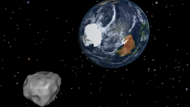 This image provided by NASA/JPL-Caltech shows a simulation of an asteroid approaching from the south as it passes through the Earth-moon system.