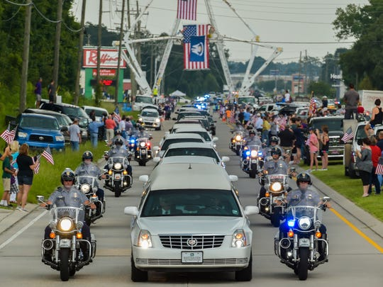 Hundreds of Law Enforcement Officers from around the country attend Funeral of Baton Rouge Police officers Matthew Gerald. July 22, 2016.