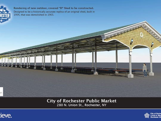 An artist's rendering shows one of the new sheds for the Rochester Public Market.