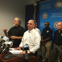 Gov. John Bel Edwards discusses housing options for flood victims during a press conference Wednesday.