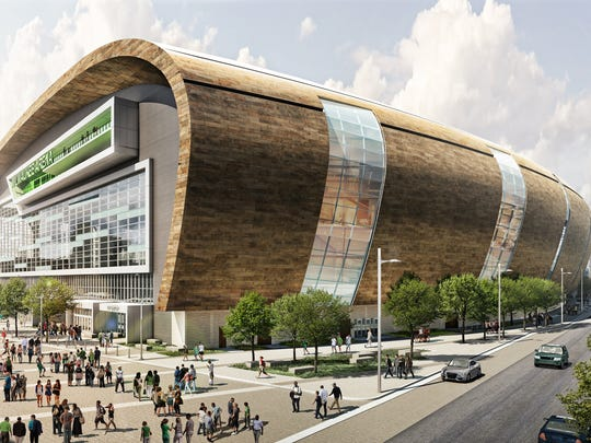 This rendering shows the new Milwaukee Bucks arena from the north east. The zinc panels give the structure a distinctive color and feel.