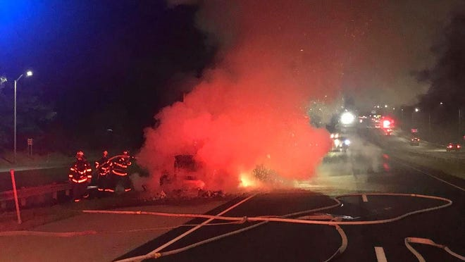 Tractor-trailer truck fire on I-395 near Norwich on Wednesday.