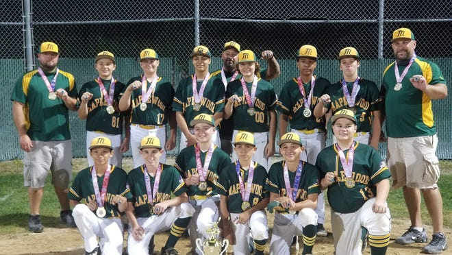 The Maplewood 12U baseball team of Fall River recently completed its 14-0 AAU season by winning the New England championship. Pictured (left to right) are: front, Malaki Silveira, Brayden Viveiros, Cameron Falcon, Brody Travers, Logan DoRego, Caleb Martins; rear, Coach Ronnie Falcon, Aiden Mosher, Cooper Long, Markell Etheridge, Manager Ryan DoRego, Brady Mosher, Alvin Gaston, Kam Rego, Coach Dan Long.
