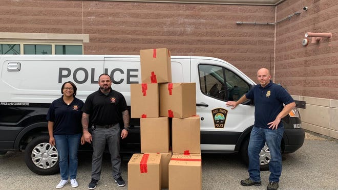 Fall River police and fire departments take part in National Prescription Drug Take Back Day in Fall River on Saturday, Oct. 24, 2020.