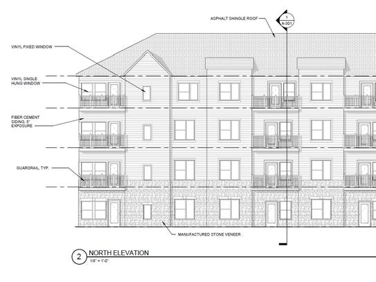 A conceptual rendering of an apartment building proposed