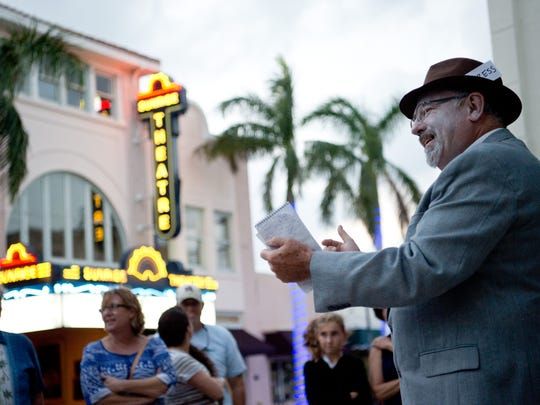 "Treasure Coast Newspapers columnist Anthony Westbury speaks to a tour group as ""newspaperman"" Charles Miley during the Ghosts of Fort Pierce Past walking tours Wednesday, Oct. 26, 2016, in downtown Fort Pierce."