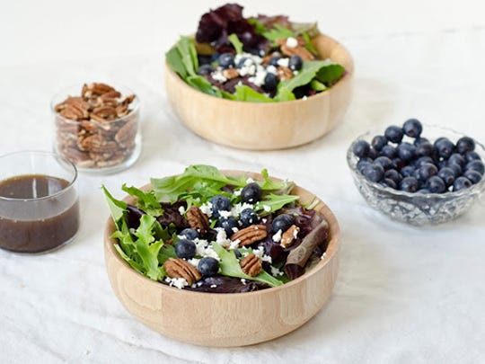 Blueberry Feta Salad With Walnuts.