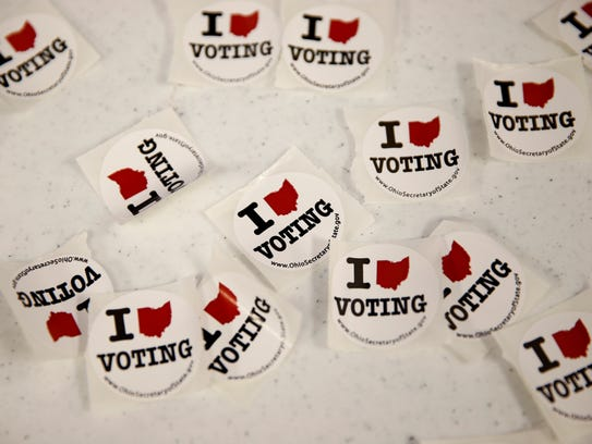 Voting stickers at a polling location on Tuesday May
