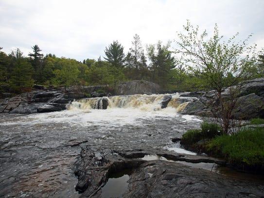 Big Falls tumbles 10 feet over a rock ledge along the