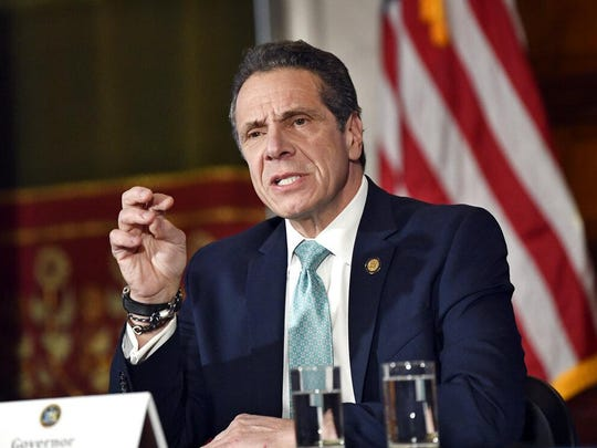 New York Gov. Andrew Cuomo talks about his upcoming meeting with President Donald Trump as New York pays more in taxes to the federal government than any other state during a news conference in the Red Room at the state Capitol Monday, Feb. 11, 2019, in Albany, N.Y.