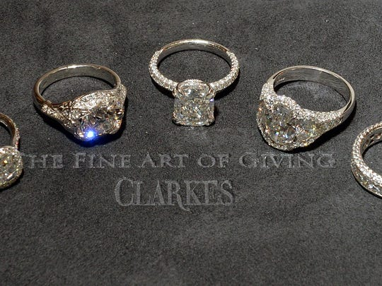 Diamond engagement rings are just some of the pieces offered at area jewelers like Clarkes Jewelers.