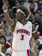 Ben Wallace is animated about which way a call should go during the Pistons' 108-99 win against the Orlando Magic at the Palace on Jan. 3, 2006.
