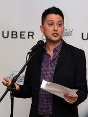 Andy Hung, head of Uber in Missouri, spoke at the Uber launch party in Springfield.
