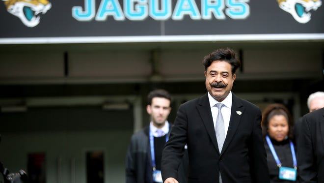 In this Oct. 28, 2018, file photo, Jacksonville Jaguars owner Shahid Khan arrives to watch the warm-up before an NFL football game against the Philadelphia Eagles at Wembley Stadium in London.