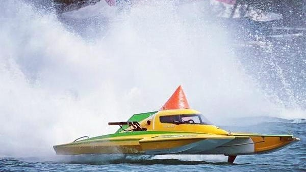 """Andy Keogh takes his hydroplane """"Lady Luck"""" for a spin on the Detroit River in 2014. """"I feel ready for the Quake,"""" Keogh said of this weekend's races on Pontiac Lake. """"I think we have as good a chance as anyone of winning."""""""