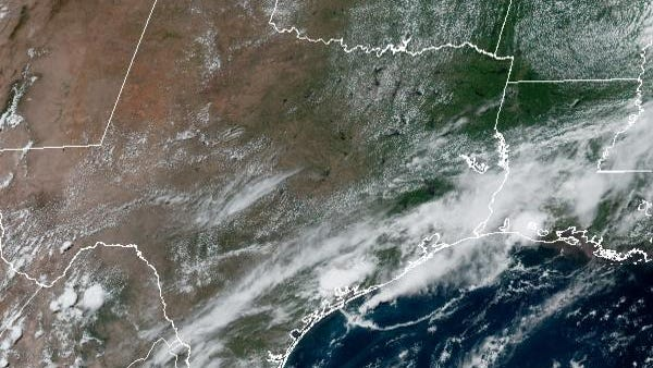 This satellite image from early Saturday afternoon shows light cloud cover over the Texas coast. The National Weather Service forecasts sunny weather today in the Austin area with a high near 96. Tonight should be mostly clear with a low of about 74 degrees.