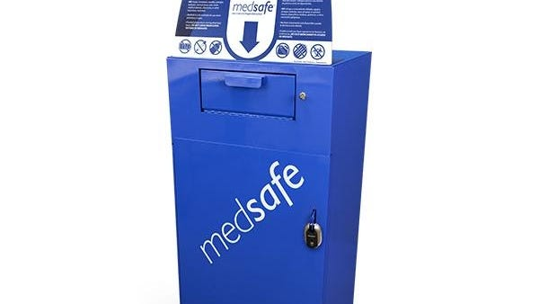 MedSafe® drug collection and disposal receptacle now located in Sinks Pharmacy for the safe and anonymous disposal of unused or expired medicines and controlled substances.