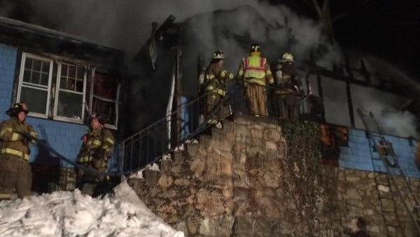 Firefighters battle a late-night blaze that destroyed a home in Putnam Valley on Monday.