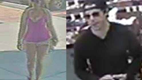 Screenshots from surveillance video footage depicting the suspects