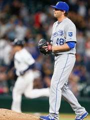 Kansas City Royals pitcher Michael Mariot walks back to the mound after surrendering a solo homer to Seattle first baseman Logan Morrison in June.