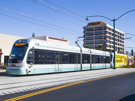 Downtown Mesa, with the Mesa Arts Center and shops along Main Street and Center, has been pinpointed as central to development. The light rail runs down Main Street on Jan. 17, 2018.
