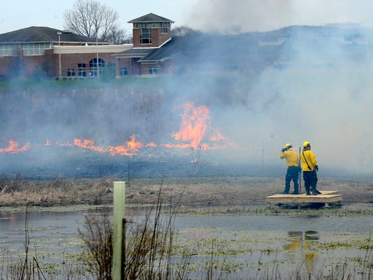 Controlled burn at Granville Schools land lab