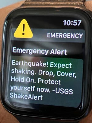 An earthquake alert is issued around 17 minutes after a 5.8 magnitude earthquake near Lone Pine Wednesday morning.