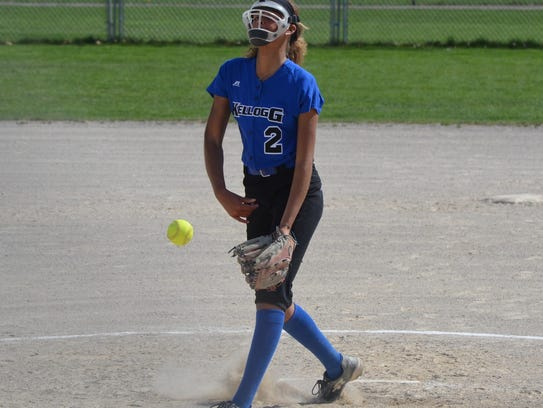 KCC sophomore Alexa Stephenson, from Pennfield, throws