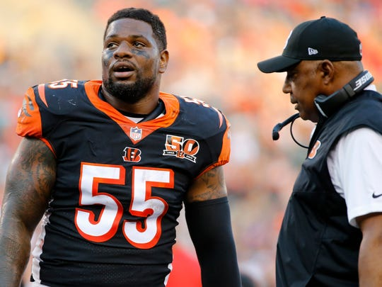 Cincinnati Bengals outside linebacker Vontaze Burfict (55) and head coach Marvin Lewis talk during a time out in the second quarter of the NFL Preseason Week 2 game between the Cincinnati Bengals and the Kansas City Chiefs at Paul Brown Stadium in downtown Cincinnati on Saturday, Aug. 19, 2017. At halftime the Bengals trailed 16-9.