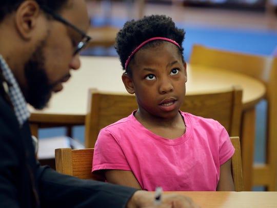 Serenity Davis, 9, a third-grader at Samuel Clemens