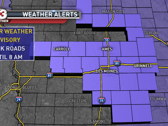 The National Weather Service has issued a winter weather advisory for several central and southern Iowa counties from midnight to 8 a.m. Tuesday.