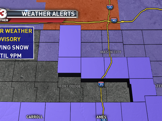 Northern Iowa will be under a winter weather advisory until 9 p.m. Tuesday.