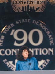 Fran introducing Governor Mario Cuomo at the 1990 New York State Democratic Convention.